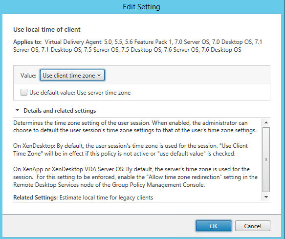 XenDesktop Client TimeZone Redirection Policy
