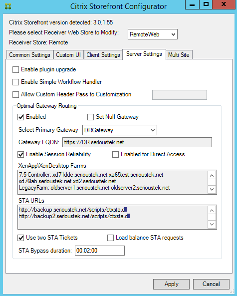 The Citrix Storefront Configurator for Storefront 3 0